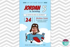 Cute airplane invitations for the birthday boy pilot. Costomise your party invites to suit your party occasion. Birthday Party Celebration, Birthday Party Invitations, Baby Shower Invitations, Invites, Printable Invitations, Printables, Planes Party, Print Store, Jellyfish