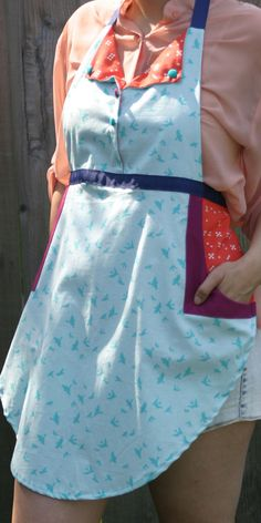 Blue Bird Apron with orange and purple by wineNwhiskeyaprons