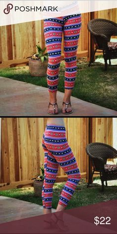 Leggings pink/navy fair isle. Leggings are comfortable and easy to accessorize any outfit. Pick out a solid colored top that is in the leggings and you got yourself a fashionable outfit.💋 2 sizes S/M and M/L. 92% polyester 8% spandex. 03172017450347 Pants Leggings