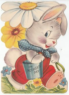 Vintage Rabbit Carrying Large Daisies Mother's Day Greeting Card