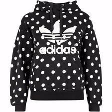 Adidas Originals Polka Dot Trefoil Hoodie Sweatshirt Women's Size Sm Black NEW!