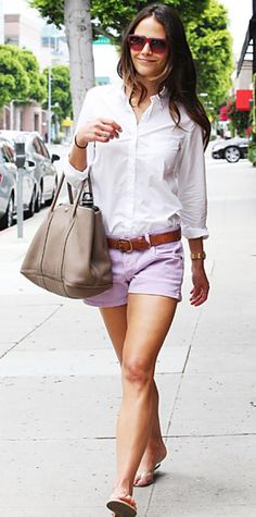 Look of the Day › July 16, 2011 WHAT SHE WORE Brewster strolled L.A. in a white button-down, belted shorts and a leather tote.