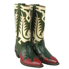 1950s Hand made Green Red White Leather Cowboy Boots 1