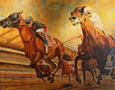 Horse Racing, Belmont Stakes, Oil on canvas,43 x 54 inches, Mike Halem