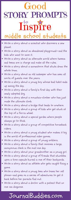 In these 33 good story prompts for middle school students, your class will receive fresh ideas and characters to develop and explore. Use these brand new story prompts with your middle school students to spark their imaginations! Middle School Writing Prompts, Middle School Literacy, Middle School Tips, 6th Grade Writing Prompts, Middle School Quotes, Middle School Crafts, Middle School Teachers, School Classroom, Classroom Ideas
