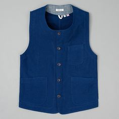 WEEKEND VEST, LIGHTWEIGHT INDIGO SASHIKO :: HICKOREE'S