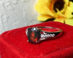 SOFT red and green play of color with light base color black natural Opal silver ring, vivid fire bright red glow, multicolored mixed fire