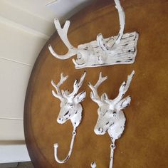 faux antlers and deer coat hooks set man cave by MySugarBlossom, $43.00 // for above the bookshelf