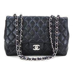 Chanel Black Caviar Leather Jumbo Single Flap Bag