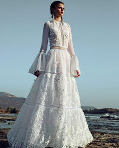 christos costarellos fall 2017 bridal circular flounce long sleeves jewel neck full embellishment romantic vintage a line wedding dress sweep train mv -- Christos Costarellos 2017 Wedding Dresses Long Sleeve Wedding, Wedding Dress Sleeves, Bridal Dresses, Wedding Gowns, Wedding Ceremony, Lace Wedding, 2017 Bridal, 2017 Wedding, Summer Wedding