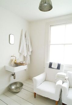 White bathroom in London home; Remodelista