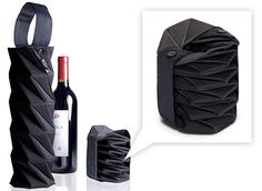 Built NY Origami Wine Tote - safeguards bottle and compresses flat and secures with handle for compact storage