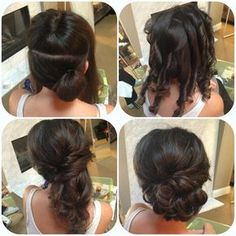 side updo How to curl so it layers the right direction Half up half down