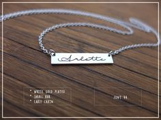 20% off // Engraved Custom Name Bar necklace  by barbabelle88