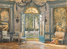 Elsie de Wolfe's music salon at Villa Trianon, painted by William Rankin in the 1920s