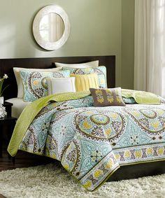 Look at this Blue & Green Circle Bless Quilt Set on #zulily today!