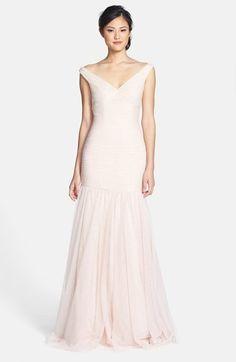 Monique Lhuillier Bridesmaids Tulle Trumpet Dress on shopstyle.com