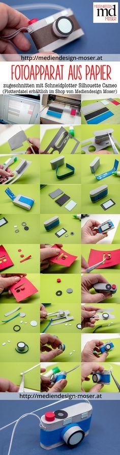 Mini-Fotoapparat hergestellt aus Papier. Zugeschnitten mit dem Schneidplotter von Silhouette (Cameo). Eine Bastelidee von Brigitte Baier-Moser