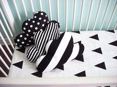 Cloud pillow in black and white polka dot by NotSewStrange on Etsy