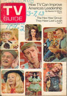 "March 7, 1970. Gordie Tapp, Louis M. Jones, Jeannine Riley, Dianna Scott, David Akeman, Lulu Roman, Buck Owens and Roy Clark, and Cathy Baker of CBS's ""Hee Haw."""