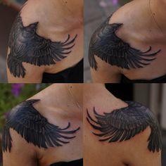 Shoulder crow by strangeris.deviantart.com on @deviantART (Tattoo, Grim, Dark, Raven, Bird, Fear)