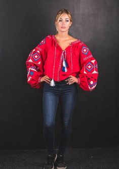 Traditional Ukrainian Red blouse Embroidered blouse Vyshyvanka for womens Ukrainian Vyshyvanka Folk blouse Ethnic clothing Anniversary gift Made of homespun cloth , this fashionable blouse is very easy to match with skirts or pants, including jeans. Production: I sew all blouses