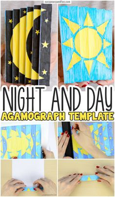 Night and Day Agamograph Template for Kids to Make. Super fun Paper craft idea f… Night and Day Agamograph Template for Kids to Make. Super fun Paper craft idea for kids. Paper Crafts For Kids, Arts And Crafts Projects, Arts And Crafts Supplies, Crafts For Teens, Crafts To Do, Preschool Crafts, Projects For Kids, Paper Crafting, Project Ideas
