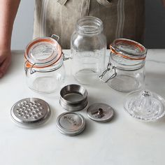 Kitchen tools and storage jars for a zero waste, plastic free kitchen | Tools to make Mason, Kilner, and Le Parfait jars more useful