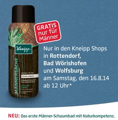 """Männer aufgepasst! Wir haben ein Schaumbad nur für Euch entwickelt. Zur Feier verschenken wir die ersten frisch abgefüllten Schaumbäder """"Männersache"""" in unseren Kneipp-Shops in Rottendorf, Bad Wörishofen und Wolfsburg *solange der Vorrat reicht. Nur diesen Samstag, den 16.8.14 um 12 Uhr! http://www.kneipp.de/de/aktuellesvonkneipp/aktuelle_meldung/article/maenner-aufgepasst-vorbeikommen-und-gratis-schaumbad-sichern.html"""