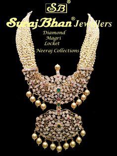 Pearls Patakam Haram by Suraj Bhan Real Gold Jewelry, Emerald Jewelry, Gold Jewellery Design, Bead Jewellery, Pearl Jewelry, Beaded Jewelry, Jewelery, Diamond Jewellery, Statement Jewelry