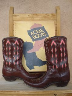 Vintage 1950s Acme Boots Brown Coral Pink Diamond by bycinbyhand, $215.00