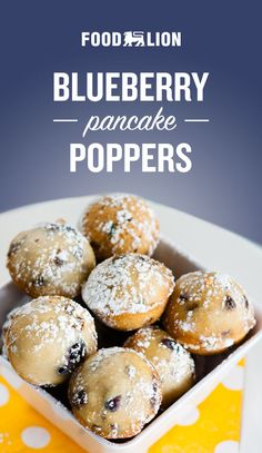 Surprise Mom with these easy-to-eat-in-bed pancake poppers! With blueberries, chocolate, and a dusting of powdered sugar, these are a delightful addition to any brunch menu. Brunch Recipes, Brunch Menu, Dessert Recipes, Breakfast Dishes, Breakfast Recipes, Blueberry Recipes, Love Food, Powdered Sugar, Food Porn
