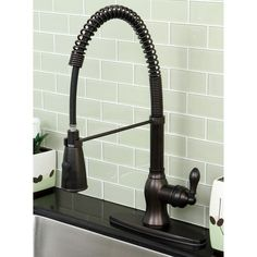 Get Offer Kitchen Faucets-This is the Modern Oil Rubbed Bronze Spiral Pull-down Kitchen Faucet! Kitchen Faucets with swiveling faucet features an oil rubbed bronze finish and the pull-down sprayer reaches 36 inches long. Black Kitchen Faucets, Bronze Kitchen, Kitchen Sinks, Modern Faucets, Bronze Bathroom, Basement Kitchen, Craftsman Kitchen, Kitchen Hardware, Kitchen Fixtures