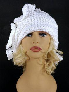 White Crochet Hat Womens Hat Womens Crochet Hat Ruffle Crochet Beanie Hat White Hat African Hat CYNTHIA Beanie Hat for Women by strawberrycouture by #strawberrycouture on #Etsy