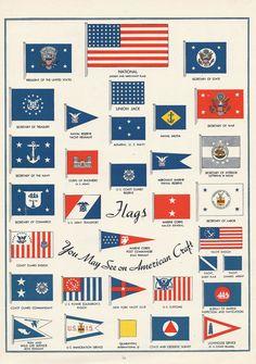 Vintage Nautical Sailing Flags Pennants Illustrations 1940s. via Etsy.