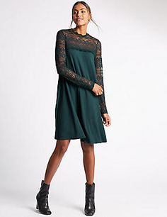 Lace Swing Lined Fit & Flare Dress