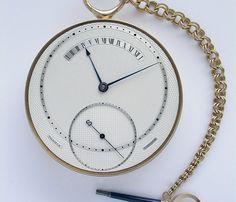 George Daniels Open Faced One Minute Spring Detent Chronometer Tourbillon George Daniel, Pocket Watch Antique, Mechanical Watch, Gold Watch, Pocket Watches, Clocks, Fingers, Instruments, Wheels