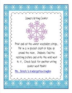 Mrs. Bohaty's Kindergarten Kingdom: Snowman Sound Box & Writing Center Freebie