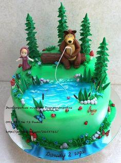 Masha and the bear cake 😍 Crazy Cakes, Masha Cake, Masha Et Mishka, Fisherman Cake, Marsha And The Bear, Cake Designs For Girl, Rodjendanske Torte, Ocean Cakes, Princess Cookies