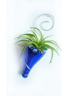 Air+plant+holder+-Recycled+bottle+sconce+-+Blue+with+Silver+and+beads