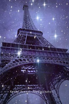 Paris Photography Eiffel Tower Starry Night Eiffel by KathyFornal, $30.00