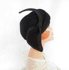Black 1960s hat vintage 60s tilt Adolfo II New York Paris