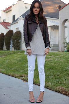 Ashley Madekwe wearing - Jeans: American Apparel | Jumper/Sweater: Nasty Gal | Jacket: Courtesy of Kelly Wearstler | Sandals: Saint Laurent