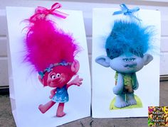 DIY Trolls Movie Party Favor Bags - Very easy to make. Perfect for holding fun favors