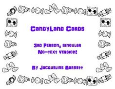 Here is a set of 64 Candyland Cards to use for practicing Third person, singular pronouns (he/she) and verbs.  This works great for Speech-Language Therapy, ESOL or Foreign language classrooms for practicing the Third person, singular or the present participle.
