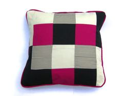 Cushion cover with modern patchwork and piping. £20.00