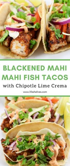 Blackened Mahi Mahi Fish Tacos with Chipotle Lime Crema, aka the best way to feel like your dining in the Caribbean! Living on an island, you cannot go wrong with fish tacos. With the freshest Seafood Dishes, Seafood Recipes, Mexican Food Recipes, Cooking Recipes, Healthy Recipes, Fish Taco Recipes, Beef Recipes, Cooking Fish, Chicken Recipes