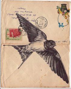 Bic biro drawing on a 1972 Vietnamese envelope. by mark powell, via Behance