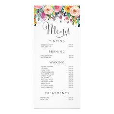 Price List Desigm For Beauty Salon Menu Design  Pricelist Design