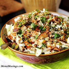 Grilled Ginger-Sesame Chicken Salad- packed with fresh flavors, grilled chicken and green goodness, this one is a winner. Via Menu Musings